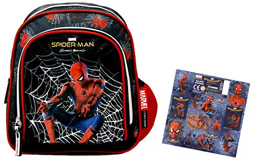 Spider-Man - Homecoming - Super Set - Kindergarten-Rucksack/Kindergartentasche für die Brotdose/Trinkflasche (27x23x10cm) + 12 Spider-Man - Homecoming Sticker