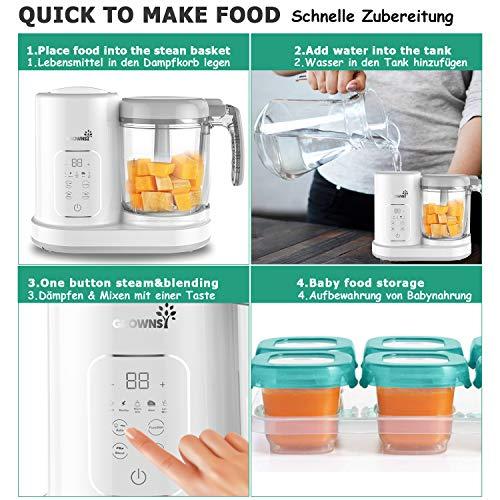 Babynahrungszubereiter | Babybrei zubereiter | Dampfgarer baby, Konstante Temperatur 24h, Auto Kochen & Zerkleinern, 8 wiederverwendbare Lebensmittel-Beutel