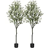 CROSOFMI Artificial Olive Tree Plant 5.9 Feet Fake Topiary Silk Tree, Perfect Faux Plants in Pot for Indoor Outdoor House Home Office Garden Modern Decoration Housewarming Gift,2Pack