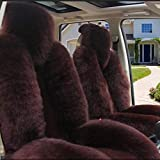 5Pcs Innen Thick Wool Auto-Sitzabdeckung echte Schaffell-Teppich Fleece Universal-Kissen for Automobil-Deko-Set und im Winter warm (Color : Brown)