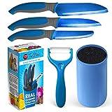 Kids Knife Set For Cooking – 5 Piece Kids Cook Set in blue – Kids Cooking Supplies, 4.5' Kids...