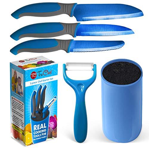 Kids Knife Set For Cooking – 5 Piece Kids Cook Set in blue – Kids Cooking Supplies, 4.5' Kids Chef Knife, 4' Kids Paring Knife, Ceramic Peeler, 3.5' Kids Serrated knife & Universal Holder – TruChef