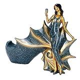 Statue de porte-bouteille de vin, Figurines fille porte-vin, pour comptoir de bar accessoires de décoration intérieure(BS023-1 blue girl wine rack)