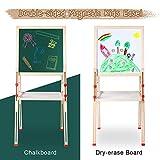 Ejoyous 3-en-1 Chevalet en Bois pour Enfants, Multifonctionnel Magnétique Chevalet à Peindre Vert et Blanc pour Enfants avec Accessoires, Hauteur réglable 26' - 45' (74 × 47 × 7 cm)