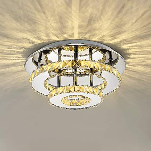 Lampara Techo de Cristal 36w, Lámpara de Araña de Acero Inoxidable, Iluminación LED para Salon/Dormitorio/Pasillo/Comedor Blanco Cálido...