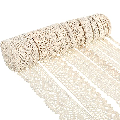 50 Yards 10 Rolls Lace Trim Vintage Lace Ribbon Crochet Lace Edge Ribbons for Bridal Wedding Holiday Home Party Decorations DIY Sewing Crafts Supplies, 5 Yards of Each, 10 Styles