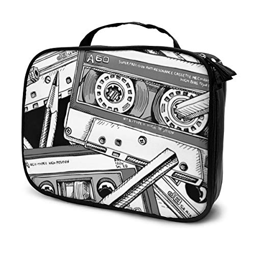 Travel Make Up Bags Black Analogue with of Audio Cassette and Pencil White Draw Education Large Makeup Bag Cosmetic Orgainer Train Case 9.8x3.15x7.5Inch