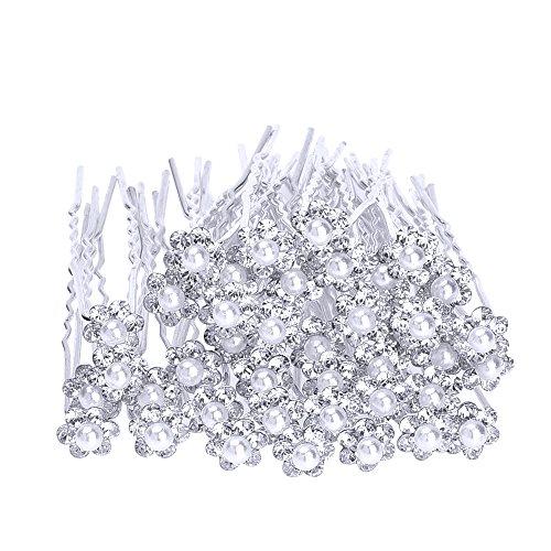 eBoot 40 Stück Hochzeit Brautperlen Haarnadeln Haarschmuck Strass Blumen Kristall Haar Stifte Clips, Weiß