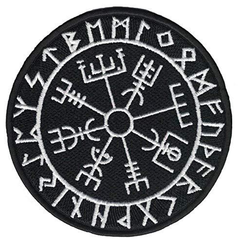 Heidenklamotten Vegvisir im Runenkreis Aufnäher/Patch | Wikingerkompass Runen Wikinger Asatru