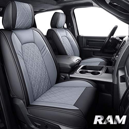 Aierxuan Ram Car Seat Covers Full Set Custom Fit 2009-2021 1500 2010-2021 2500 3500 Pickup Truck Crew Double Quad Regular cab Waterproof Leather Cushions(Full Set, Black-Gray)
