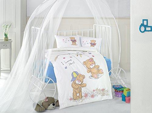 Masal V2 Bleu Bears Lit pour bébé Housse de couette, 100% coton doux et Sain Parure de lit 4 pièces