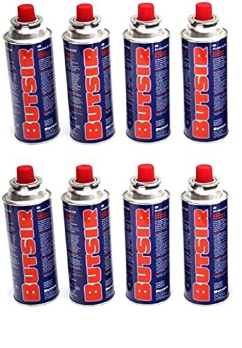 Butsir Pack de 8 cartuchos de gas, Bombona de recarga de gas 227 g para hornillos, quemadores, etc