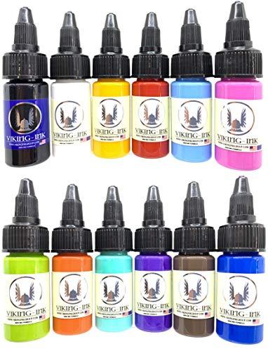 Tinta para tatuaje - KIT 12 BRILLANT COLORS 0.5oz (15ml) - VIKING INK USA - Los mejores colores y negros en tintas para tatuaje del mercado - VEGANAS