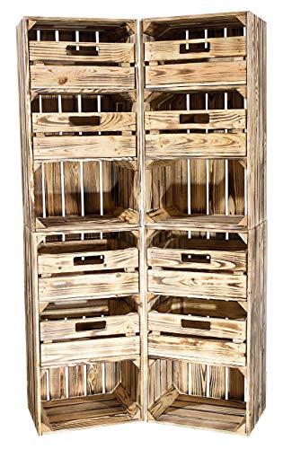 Obstkisten-online 2X GEFLAMMTE HOLZKISTEN WEIß - mit 2 Schubladen - NEU - hohe Kiste als Flurschrank für Handschuhe und Mützen, sowie Schuhe - 74,5x40x31 cm