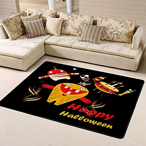 Sesily - Felpudo para monstruos y calavera sobre alfombra de suelo oscuro