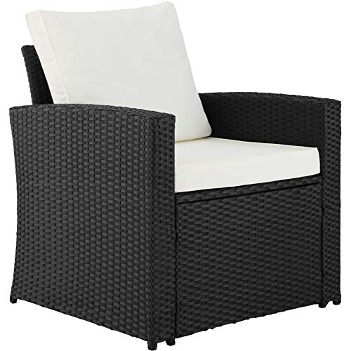 TecTake 800679 – Rattan Seating Set 5 PC, 2 Seats, 1 Sofa, 1 Table Glass Top, including Thick Cushions, Stainless Steel Screws (Black   No. 403078)