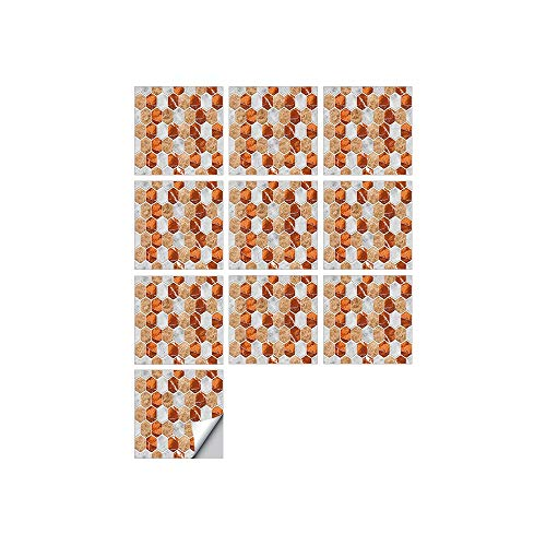 Leileixiao 10 PCS SIMULACIÓN 3D Auto Adhesivo Vinilo Papel Pantalón Peel and Stick Decorativo Calcomanías Impermeable Baño Mosaico Mosaico Pegatina (Color : FDJ007, Size : 15cmX15cmX10pcs)