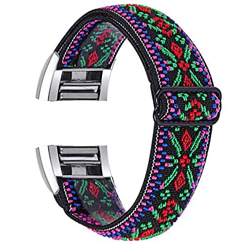 TechCode Charge 2 Correa de Reloj de Liberación Rápida, Soft Loop Nylon Bandas de Repuesto elásticas Correa Tejida elástica y Transpirable Delgada para Fitbit Charge 2 (C16)