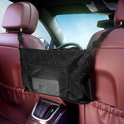 Car Purse Holder Between Seats, Net Bag Pocket Handbag Holder for Automotive, Car Front Seat Organizer and Storage, Automobile Net Hammock Purse Holder