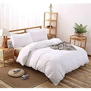 Whitecottonworld Hotel Luxury Egyptian Cotton 800 Thread Count Zipper Closer 1-Pieces Duvet Cover With Corner Ties, Oversized King (98 x 120 Inch) Size, Soft,, White Solid