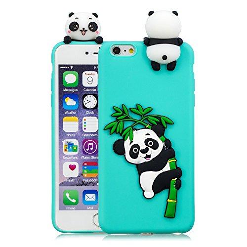 HopMore Compatible con Funda iPhone 6S / 6 (4.7 Inch) Silicona Dibujo 3D Divertidas TPU Gel Kawaii Ultrafina Case Antigolpes Caso Protección Design Carcasas Gracioso para iPhone 6 6S - Cyan Panda