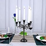 Queta Kerzenleuchter 5-armig Kerzenständer Candle Holder Kerzenhalter als Tischdeko für Weihnachten und Erntedankfest (Schwarz) - 7