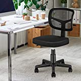 Armless Office Chair Mesh Desk Chair, MOLENTS Small Computer Task Chair Ergonomic Mid Back Swivel Chair with Adjustable Height for Adults and Kids,Black No Armrest Home Office Chair for Small Spaces