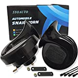 SYOAUTO Car Horn Truck Horn 12V Horn Waterproof High Low Tone Universal Fit Super Loud Electric Snail Horn 12V Horn Kit Replacement Car Horns
