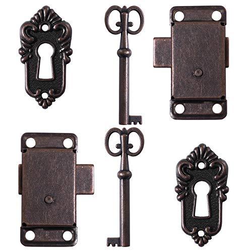 Yardwe Schranktürschloss Antik Schrankschloss Dekoratives Möbelschloss mit Schlüssel 2 Stück