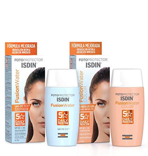 ISDIN Fusion Water Fotoprotector Facial SPF 50, de Fase Acuosa para Uso Diario, Textura Ultra Ligera + ISDIN Fotoprotector Fusion Water COLOR SPF 50, cobertura natural 50 ml