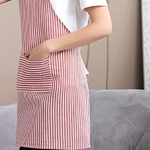 Delantal ajustable con bolsillo, babero de algodón y lino, delantal de cocina...