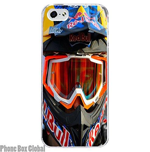 Carcasa transparente para iPhone 8, diseño de moto, color rojo