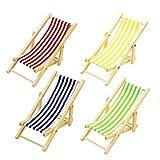 Newin Star Juquete Miniatura de la Playa de Madera casa de muñecas Plegable Silla Mini Chaise Longue Juguetes con Raya Dollhouse Muebles de la casa al Aire Libre Accesorios Color al Azar