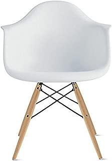 2xhome - White Plastic chair Arm Chair Eiffel With Natural Wood Legs