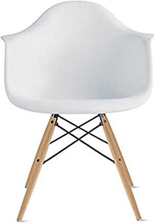 2xhome White Mid Century Modern Plastic Dining Chair Molded With Arms Armchairs Natural Wood Legs Desk No Wheels Accent Chair Vintage Designer for Small Space Table Furniture Living Room Desk DSW