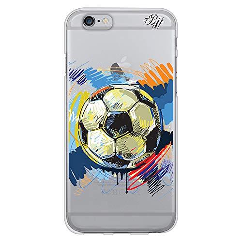 BJJ SHOP Funda Slim Transparente para [ iPhone 6 / iPhone 6s ], Carcasa de Silicona Flexible TPU, diseño: Pelota de Futbol Abstracto