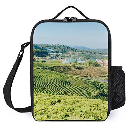 Góra zielonych liści roślin torby na lunch dla kobiet do pracy mężczyźni izolowana torba na lunch pasek na ramię z kieszeniami pudełko na lunch dzieci dziewczynki chłopcy szkoła zimno termiczne