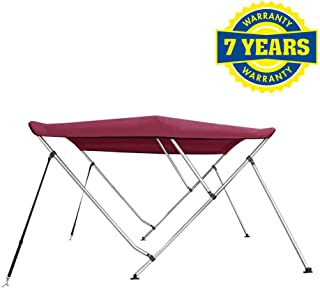 Marine and Rv Direct 3 Bow Bimini Top Boat Cover 46 H X 79-84 W 6' Long, Burgundy