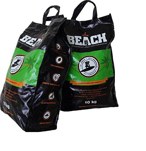 BlackSellig 20 Kg Beach Kokos Grill Briketts Reine Kokosnussschalen Grillkohle - perfekte Profiqualität