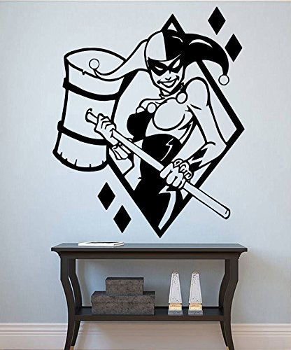 Harley Quinn Vinyl Decal Harley Quinn Wall Silhouette Cartoon Wall Decorations Playroom Wall Decor (8hyqn) / Shipping from USA by Kellysdesigns /