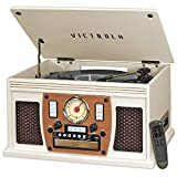 Victrola 8-in-1 Bluetooth Record Player & Multimedia Center, Built-in Stereo Speakers - Turntable, Wireless Music Streaming   White