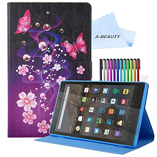 A-BEAUTY Case for Amazon Fire HD 8 Plus 2020/Fire HD 8 2020 (10th Generation) with [Screen Protector] [Card Slots] Anti-Slip Stand Cover with [Auto Sleep/Wake] - Pink Butterfly