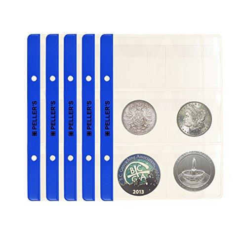 PELLER'S. Feuilles pour collection de pièces de monnaie, 55mm X 55mm (pour classeur S). Paquet de 10 pièces. 6 Pochettes pour monnaies jusqu'à 48 mm de diamètre.
