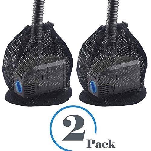 XJunion 2 Pack Pump Barrier Bag,with Drawstring Pond Mesh Pump Filter Bag,for Pond biofilters, Black Media Bags, Large Pump mesh Bags (12'x 15.7')