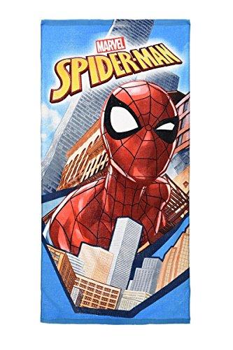 Marvel Spiderman Strandtuch, Badetuch, 140 cm x 70 cm, 83% Baumwolle, 17% Polyester, für Kinder (Blau)