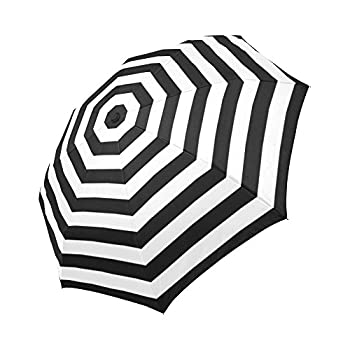 InterestPrint Abstract Striped Windproof Auto Open and Close Foldable Umbrella Stripes Lightweight Portable Outdoor Sun Umbrella with UV Protection - Black and White