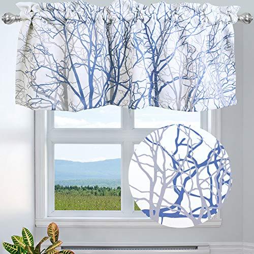 "INICEKEY Tree Branch Botanical Pattern Valance for Windows,Grey Blue Print Rod Pocket Kitchen Curtain Valance for Living Room Bedroom, 50"" W x 18"" L, 1 Panel"