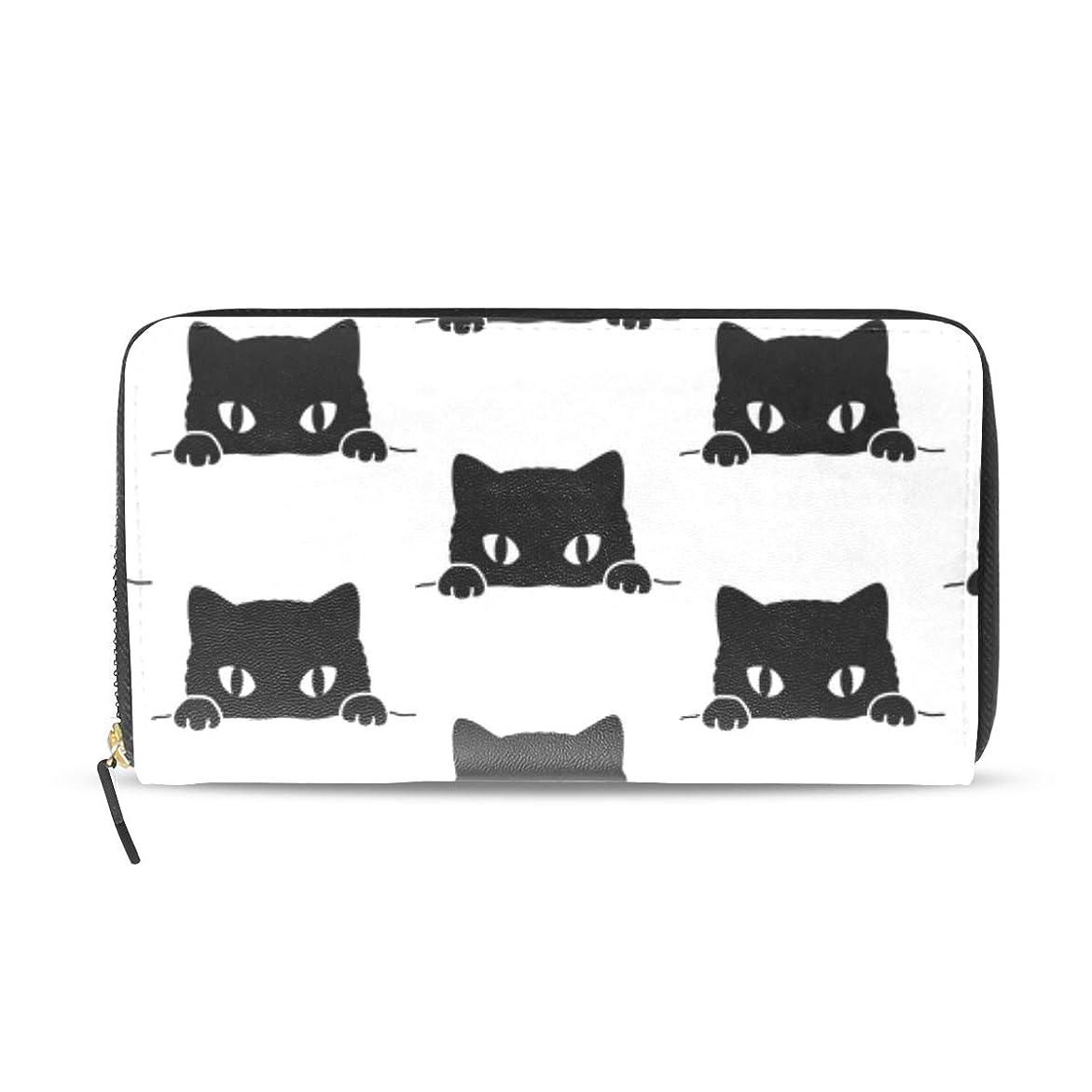 公爵無実気候旅立の店 長財布 人気 レディース メンズ 大容量多機能 二つ折り ラウンドファスナー PUレザー 黒猫柄 可愛い ウォレット ブラック