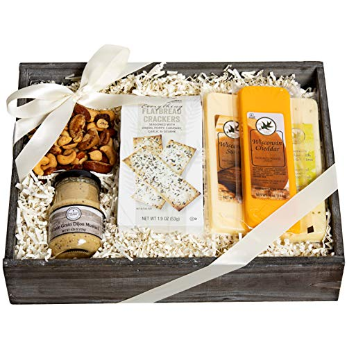 Milliard Ultimate Cheese Gift Basket with 100% Wisconsin Cheese, Crackers, Nuts and Mustard. Gourmet Food Gift Box for 2020 Christmas Holiday Season.