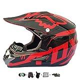 Casco Moto niño,Casco Motocross niño Moto Set con Gafas/Máscara/Guantes Casco Motocross (6unidades) Apto para Cuatro Estaciones (D, 57-58CM)